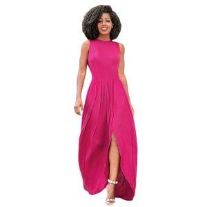 Dresses & Skirts - NEW Rosy Vibrant Pink Front Slit Maxi Dress Sz M